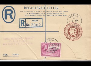 Gold Coast: 1958 registered letter Accra to New York