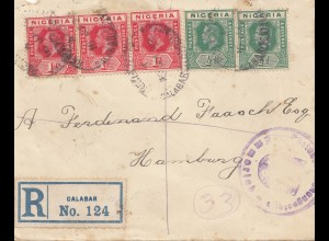 Nigeria: Registered letter Calabar 22.2.22 to Hamburg