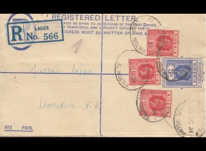 Nigeria: Registered letter Lagos 1931 to Dresden