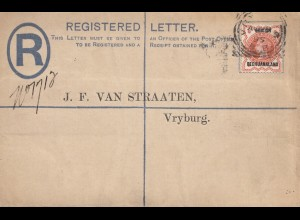 Bechuanaland: registered letter 1895 to Vryburg