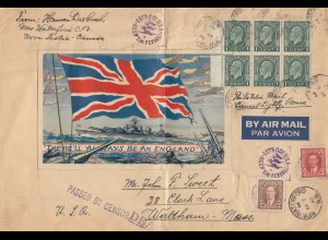 Canada: Air Mail 1942: war szene New Waterford to Waltham - Mass., censor