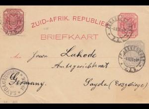 Zuid-Afrikaansche Republick - Johannesburg Brief kaart 1895 to Sayda/Erzgebirge