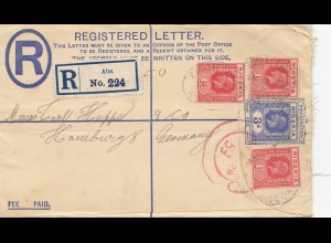 Nigeria: Registered letter Aba 1928 to Hamburg
