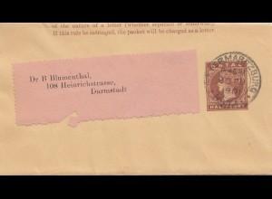 Natal: Wrapper 1901 Ermaritzburg to Darmstadt