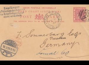 Gold Coast: 1899 post card Cape Coast to Potsdam