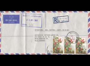 Kenya: Registered letter Nairobi 1985 to Bayrische Motoren Werke