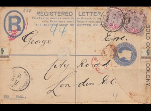 Gold Coast: Registered letter 1900 Saltpond to London