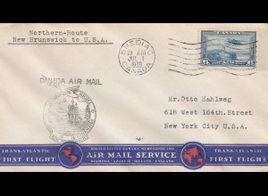 Canada: 1939 Shediac First Flight Northern Route New Brunswick to USA