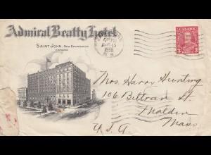 Canada: 1936: New Brunswick - Admiral Beatty Hotel - to Malden-Mass - USA