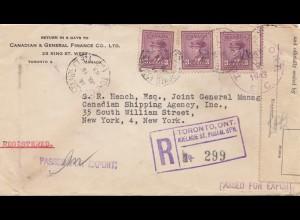 Canada: 1943: Toronto Registred to shipping agency USA, censor