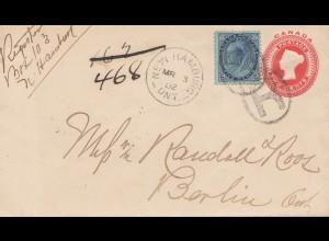 Canada: 1902: New Hamburg to Berlin, Registered