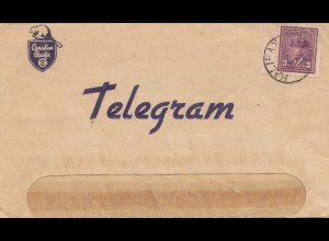 Canada: 1930: Telegram Moncton to Halifax, stamp Perfin