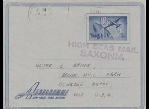Canada: 1958: Atlantic Ocean near Halifax- High Seas Mail Saxonia - to Genesee