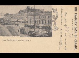 Canada: 1901: post card Guflph Traderes Bank to Philadelphia