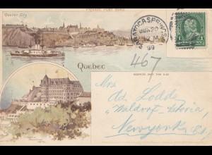 Canada: 1899: post card Quebec /Saratoca Springs to New York - Waldorf-Astoria