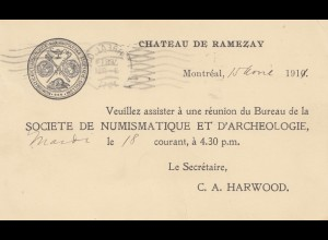 Canada: 1911: post card Chateau de Ramezay, Montreal to City hall