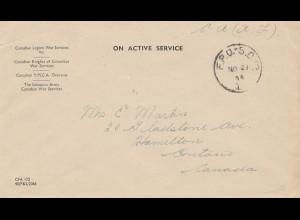Canada: 1944: War Services/YMCA Overseas/Salvation Army to Hamilton