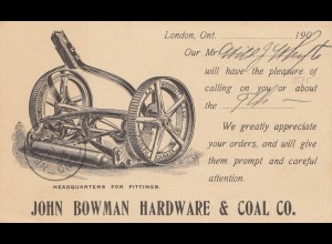 Canada: post card Bowman Hardware & coal to Hamburg