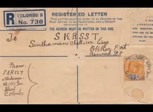 Ceylon: 1929: Registered letter Colombo to Okkur