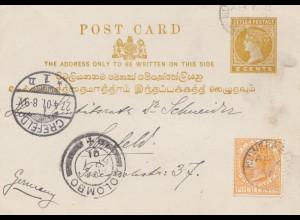 Ceylon: 1901: post card Colombo to Crefeld