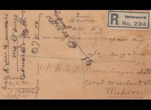 Ceylon: 1928: registered letter Vannarponnai to Madras