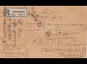 Ceylon: 1926: registered letter Vannarponnai to Madras