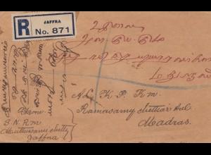 Ceylon: 1924: registered letter Jaffra to Madras