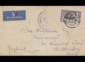 Ceylon: 1936: Indo-Ceylon Special Flight X'mas from Colombo to Hodderson/England