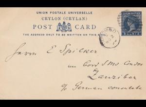 Ceylon: 1896: post card Colombo to Zanzibar - German Consulate