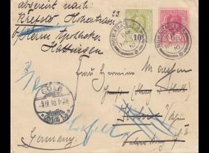 Ceylon: 1910: Nuwara Eliya to Köln - forwarded to Hattingen
