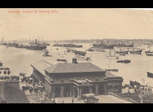 Ceylon: 1906: post card Colombo harbour & landing Jetty