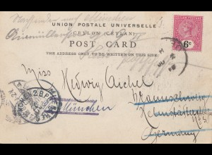Ceylon: 1900: picture post card to München