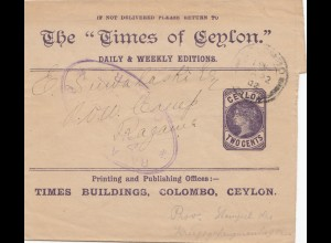Ceylon: 1902: printed matter prisoner of war camp - censor