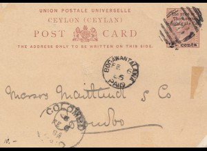 Ceylon: 1885: post card Bogawantalawa to Colombo