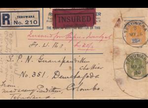 Ceylon: 1930: Registered Tebuwana INSURED to Colombo