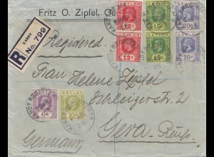 Ceylon: 1925: Registered letter Kandy to Gera/Germany