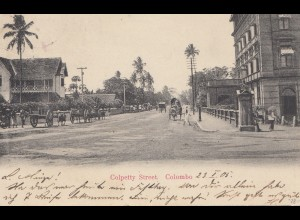 Ceylon: 1905 picture post card Colombo Colpetty Street to Germany