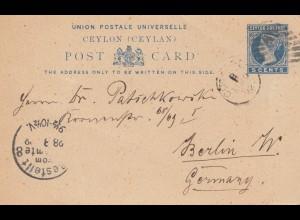 Ceylon: 1892: post card to Berlin