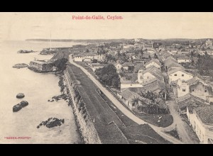 Ceylon: 1912: picture post card Point-de-Galle to Ludwigsburg