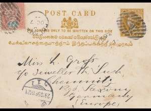 Ceylon: 1898: post card Colombo to Chemnitz