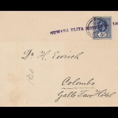 Ceylon: 1908: letter Nuwara Eliya Hotels to Colombo