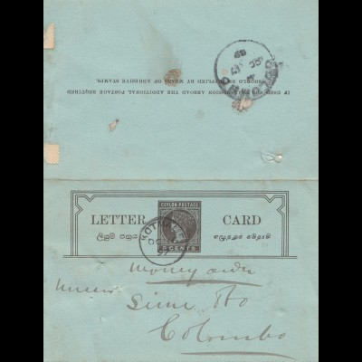 Ceylon: 1899: Letter Card Kotmalxx Moneyorder to Colombo