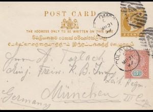 Ceylon: 1897: post card Colombo to Munich