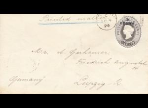Ceylon: 1895: cover to Leipzig