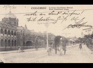 Ceylon: 1921: picture post card Colombo Chatham Street to Rabaul/New Guinea