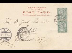 Ceylon: 1901: picture post card Muarara Eliya to Crefeld/Germany