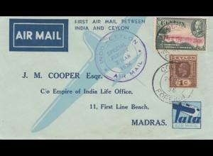 Ceylon: 1936: Air Mail Indo-Ceylon Special Flight Christmas to Madras
