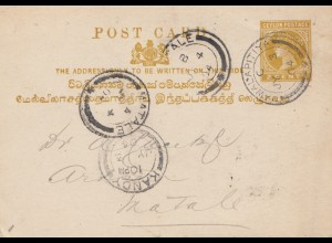 Ceylon: 1904: Post card Kandy Nawalapitiya to Natale