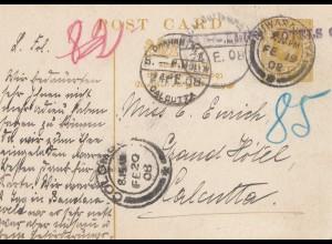 Ceylon: 1908: post card Nuwara Eliya to Calcutta/India