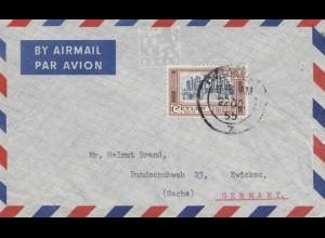 Ceylon: 1955: Air Mail to Zwickau